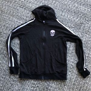 Lauren Moshi Black skull hoodie sweater size small